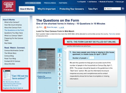 Can't Fill Out the 2010 U.S. Census Form Online