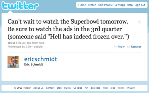 Google Eric Schmidt Tweet Super Bowl