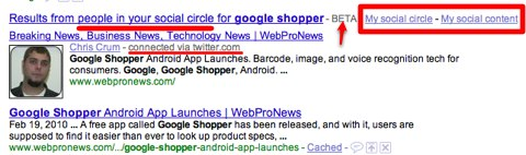 Google 'In Your Social Circle' Personalized Search