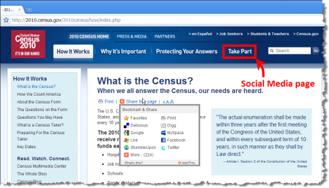 "2010 Census Social Media Page Hidden Under ""Take Part"" Navigation Tab"