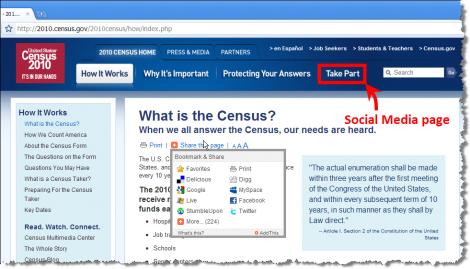 "2010 Census Social Media Page Hidden Under ""Take Part"" Navigation Tab"