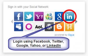 LinkedIn login to WebSite101