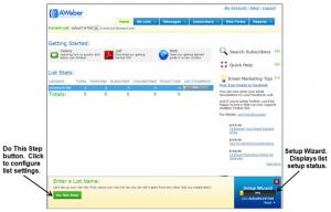 Email List Setup at Aweber