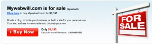 MyWebWill Domain Sale