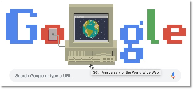 30th Anniversary of the World Wide Web retro Google Doodle